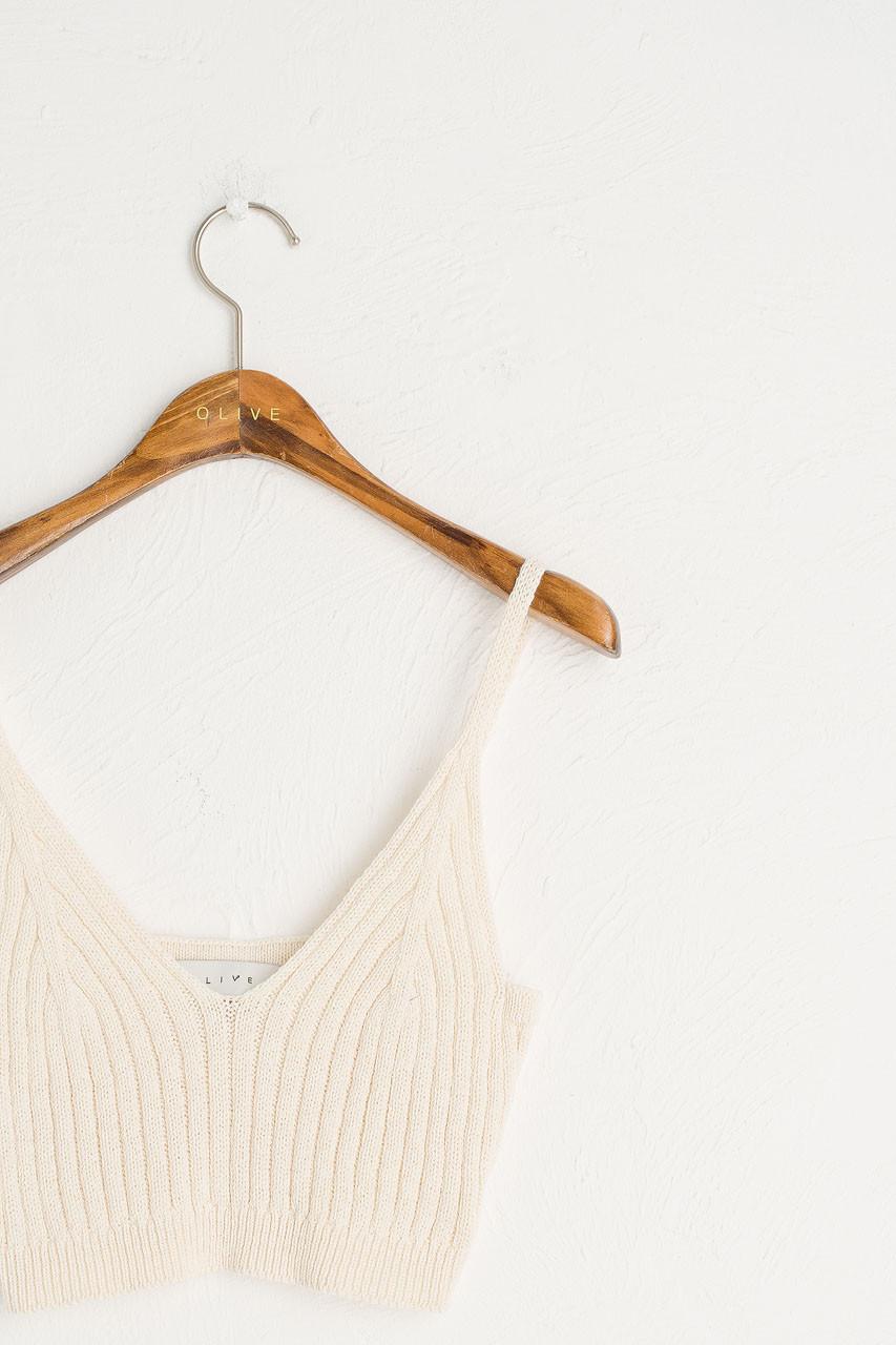 Knit Crop Bustier, Ivory