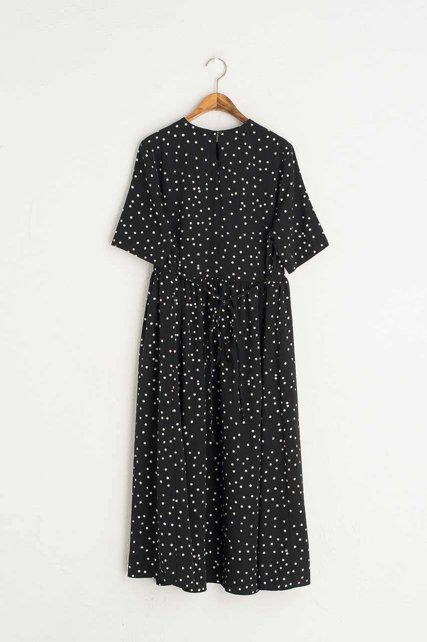Yoko Polka Dot Dress, Black