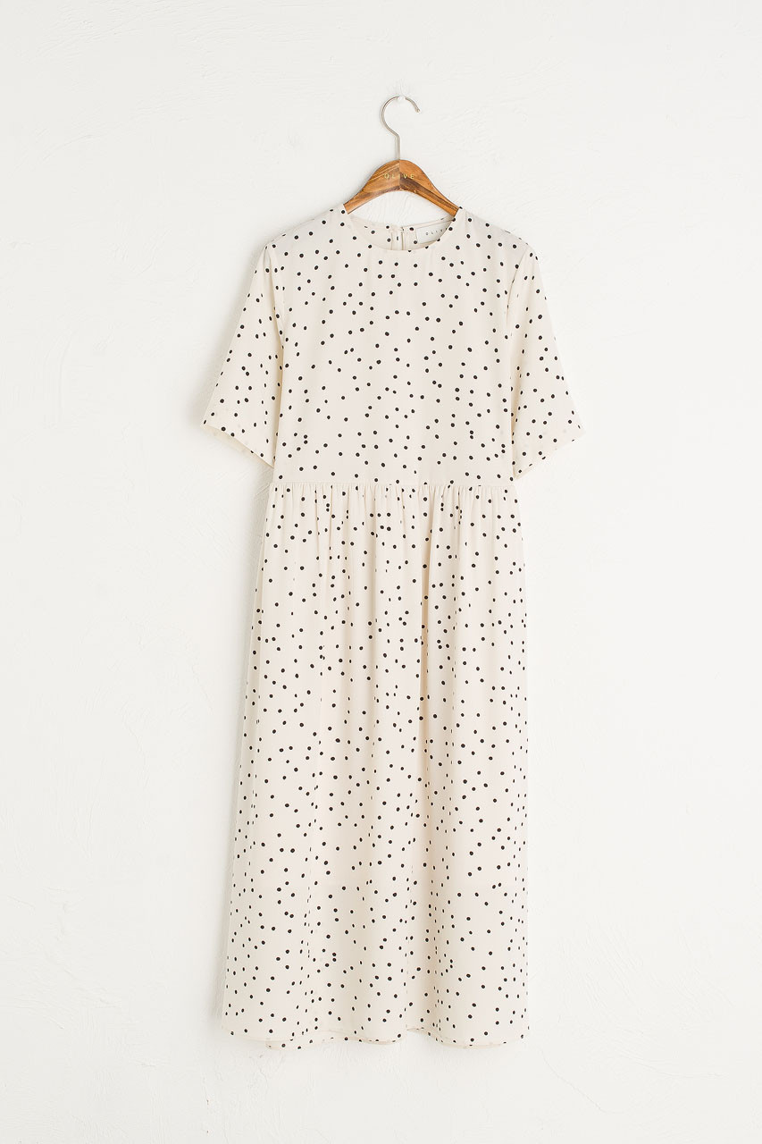 Yoko Polka Dot Dress, Ivory
