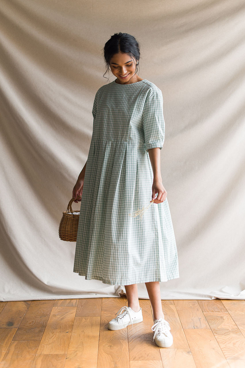 Ava Check Dress, Mint