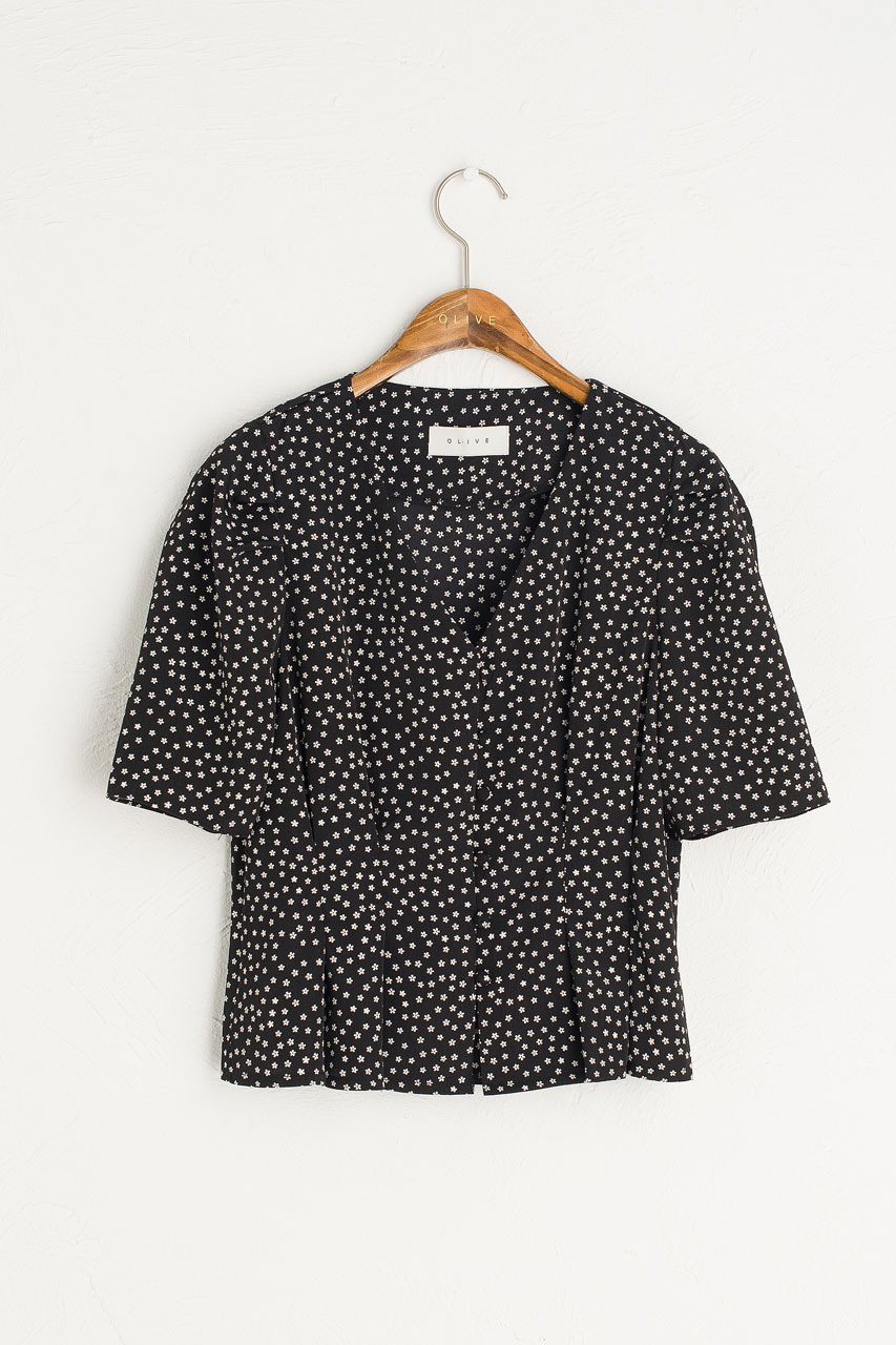 Kate Tiny Flower Blouse, Black