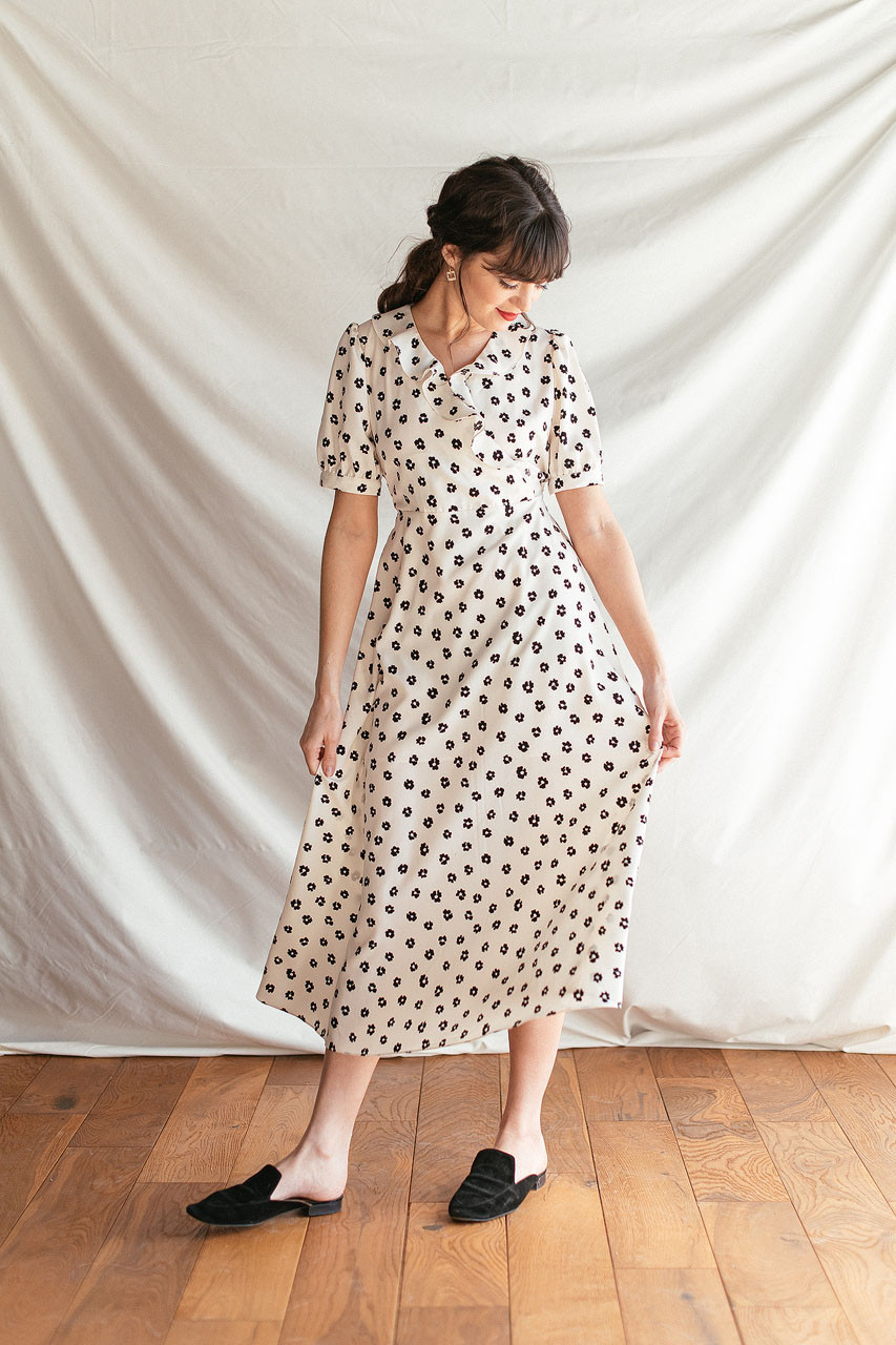 Olivia Flower Dress, Ivory