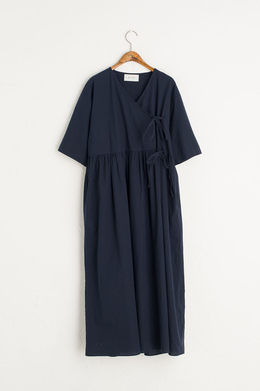 Faye Ribbon Dress, Navy
