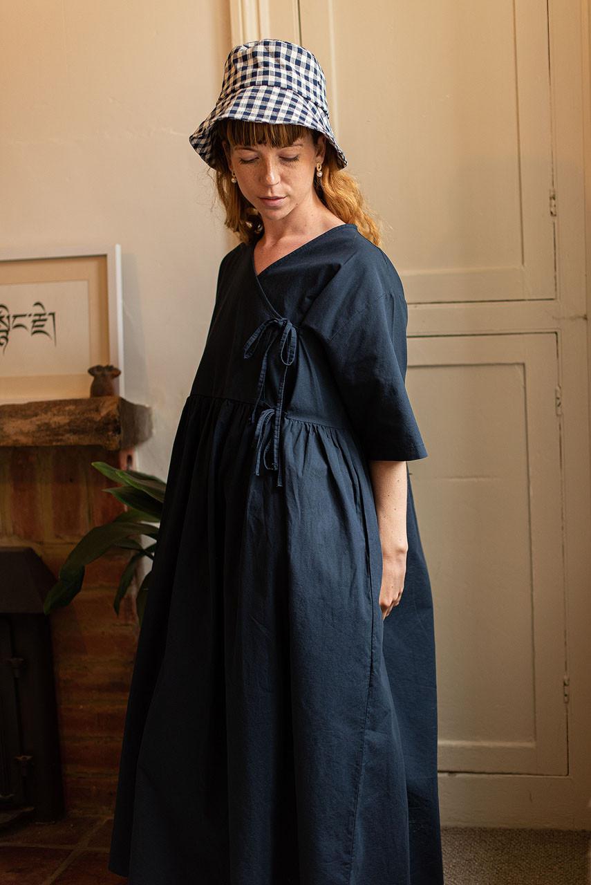 Faye Ribbon Dress, Navy