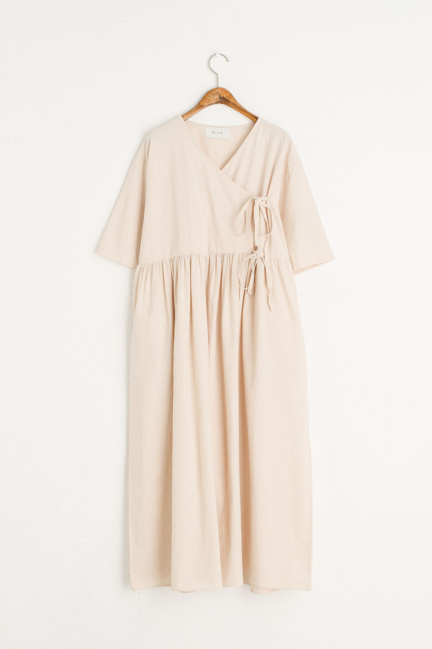 Faye Ribbon Dress, Ivory
