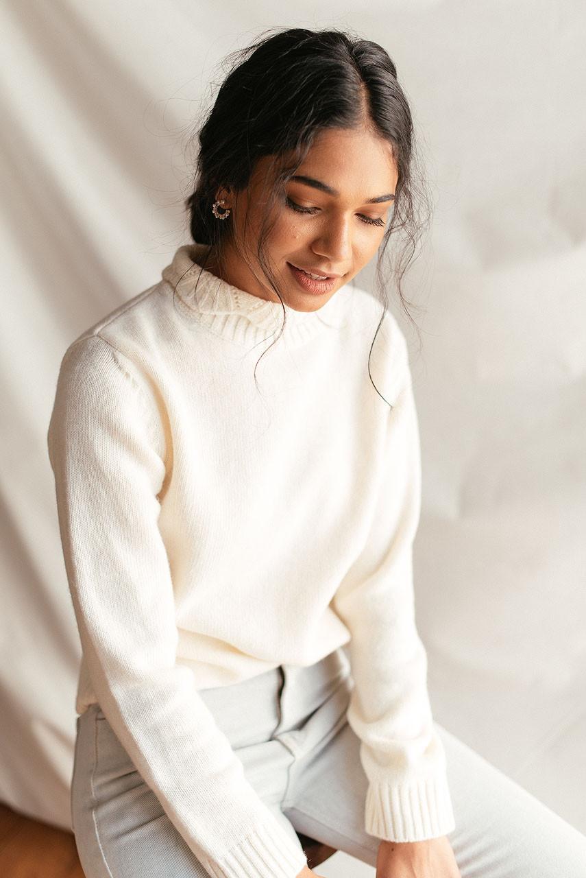 Elena Crochet Neck Jumper, Ivory