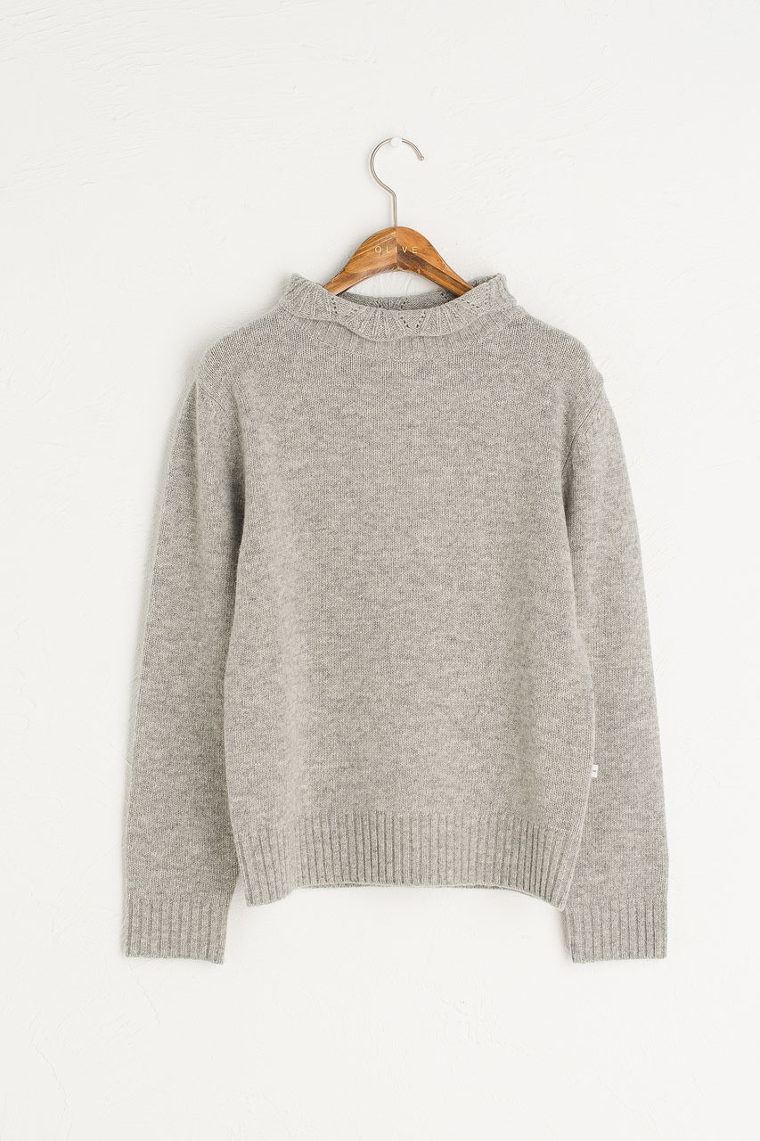 Elena Crochet Neck Jumper, Melange Grey