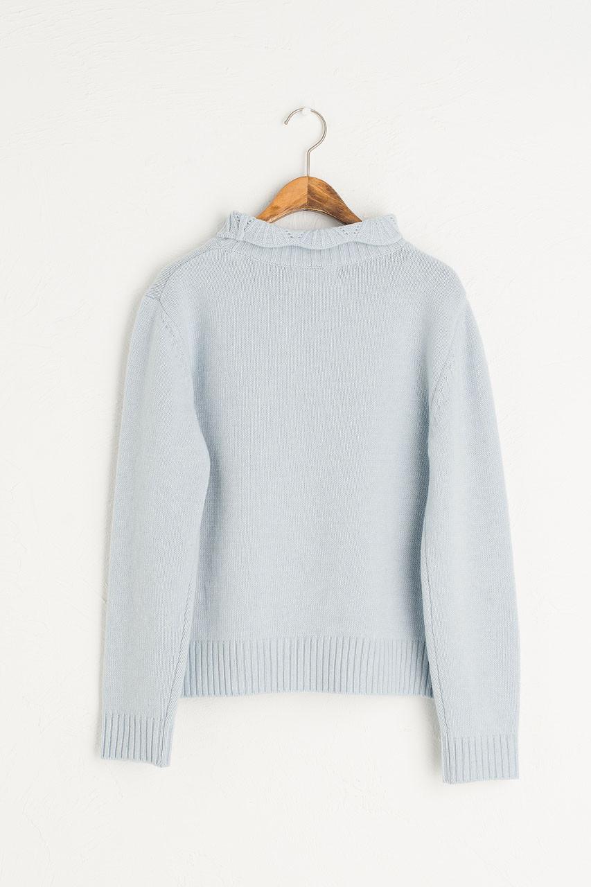 Elena Crochet Neck Jumper, Sky Blue