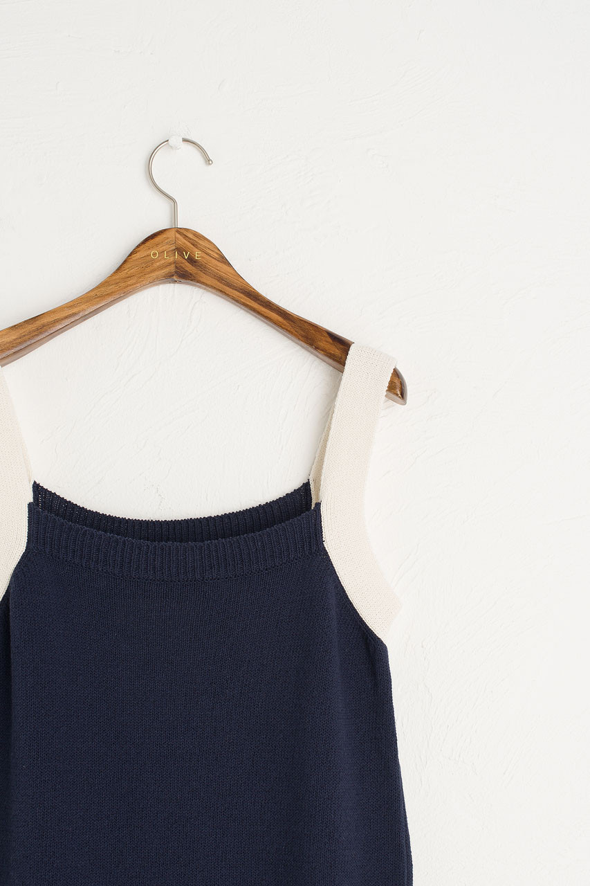 Two-tone Knit Top, Navy