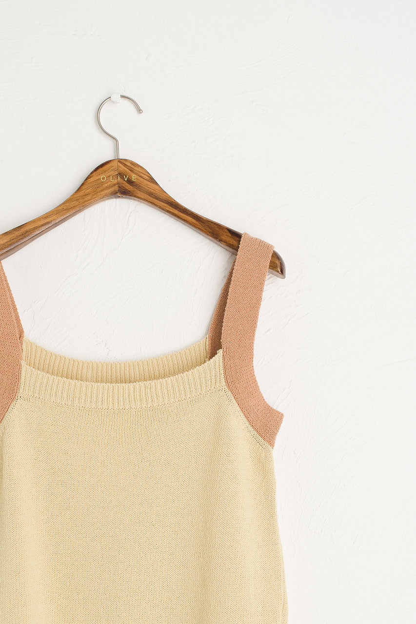 Two-tone Knit Top, Lemon