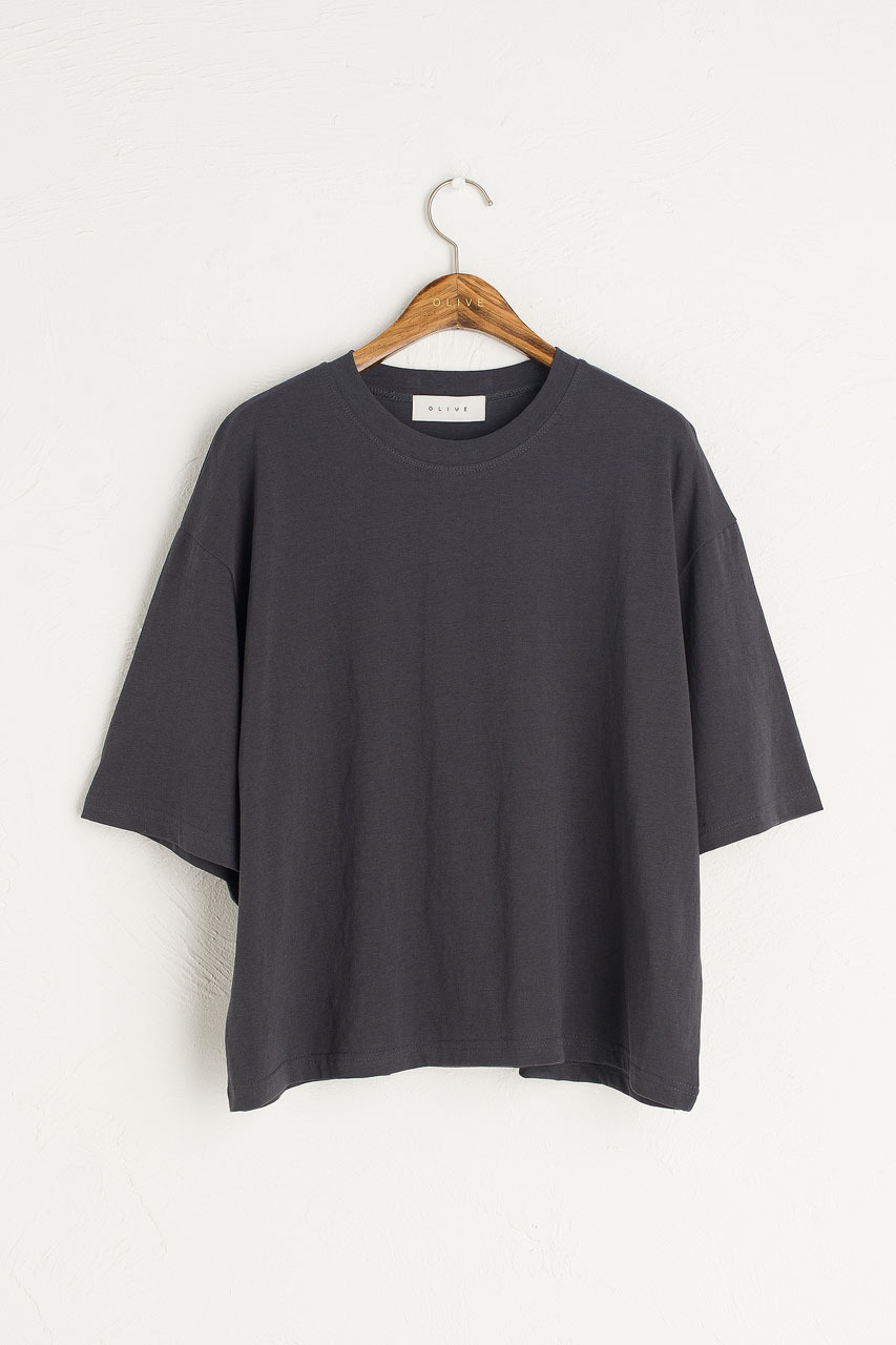 Aoi Short Sleeve Tee, Charcoal