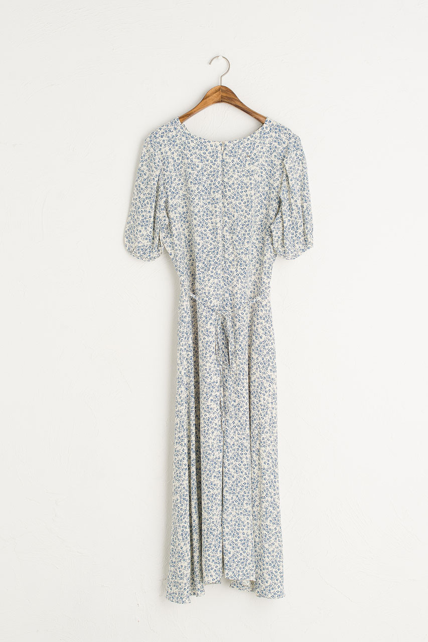 Hana Flower Wrap Dress, Blue