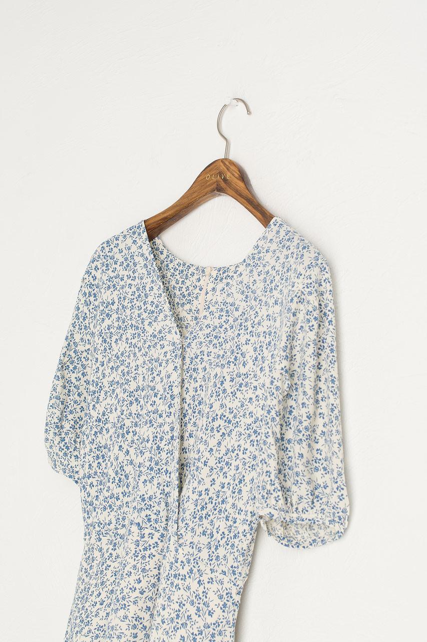 Hana Flower Wrap Dress, Blue