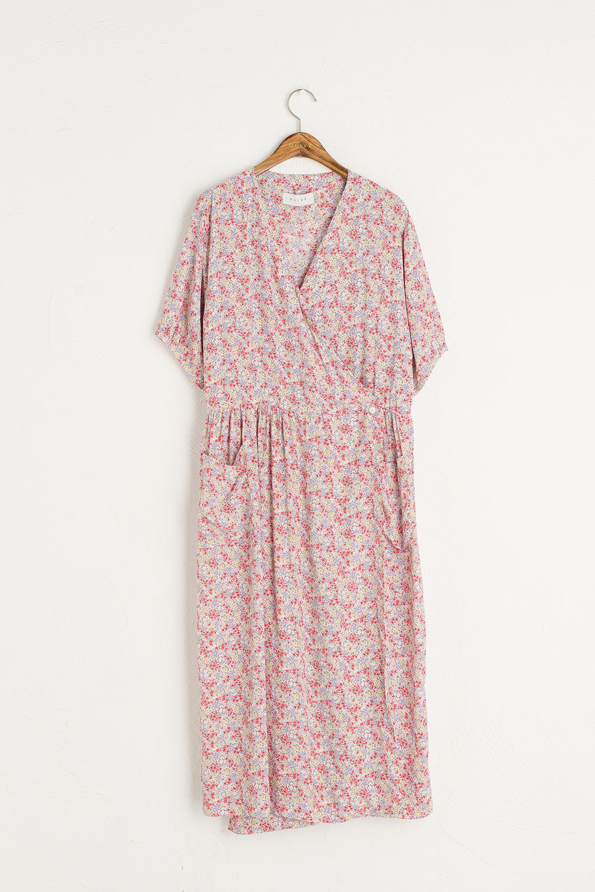 Aster V Neck Wrap Dress, Pink