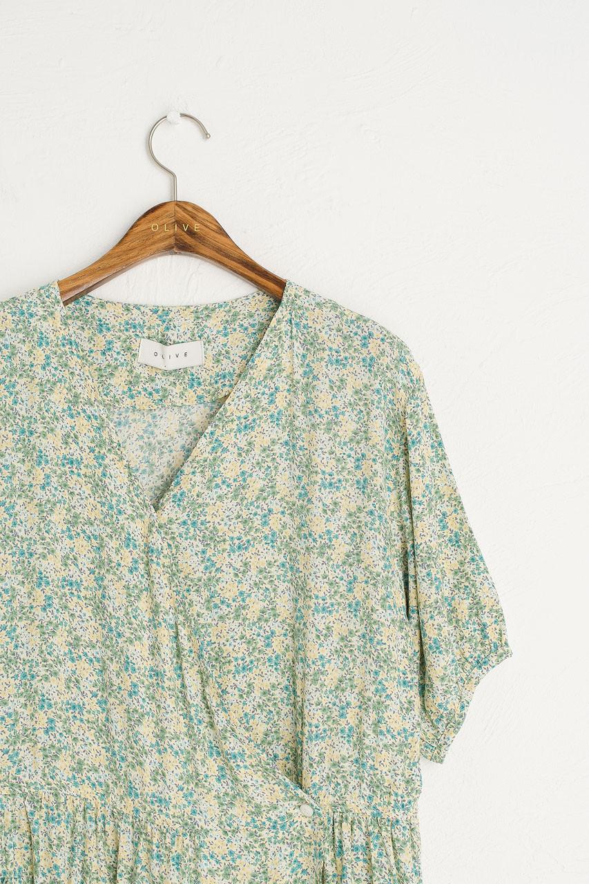 Aster V Neck Wrap Dress, Pastel Green