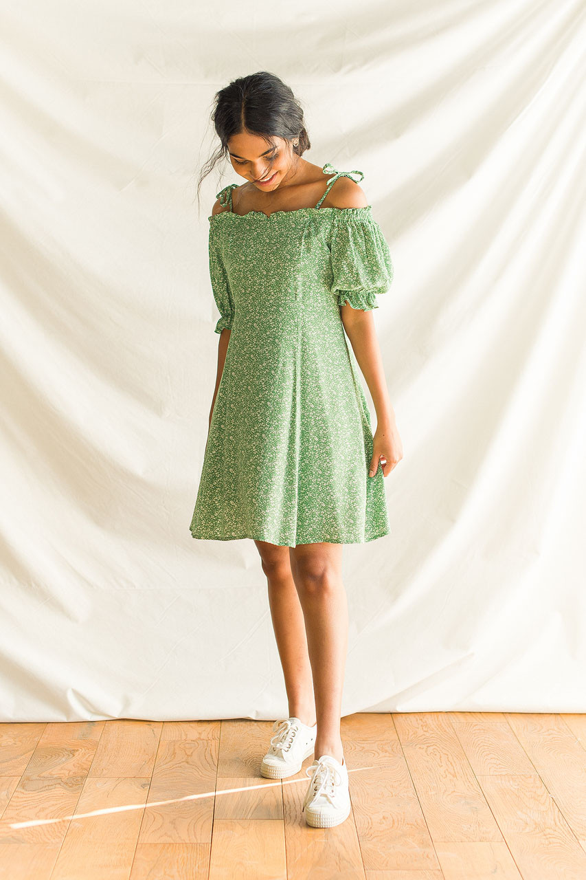 Lena Ribbon Dress, Green