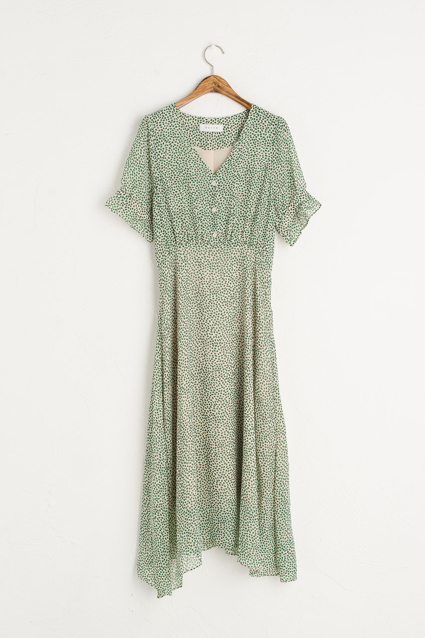 Basil Print Dress, Green