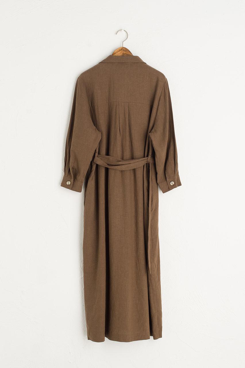 Niko Shirt Robe Dress, Brown