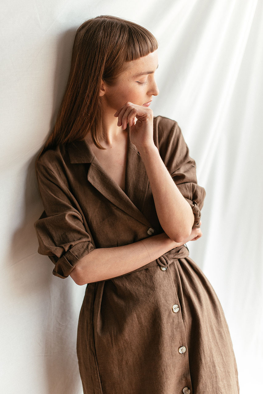 Niko Shirt Robe Dress, Brown