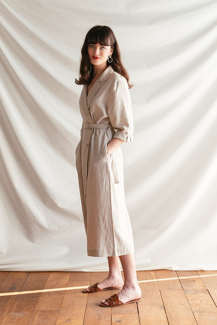 Niko Shirt Robe Dress, Oatmeal