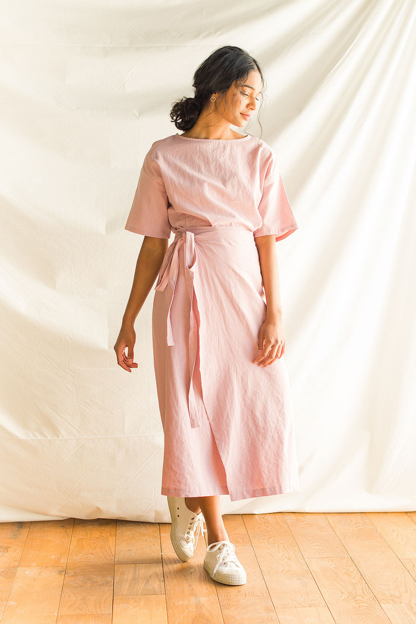 Boa Wrap Skirt Dress, Pink