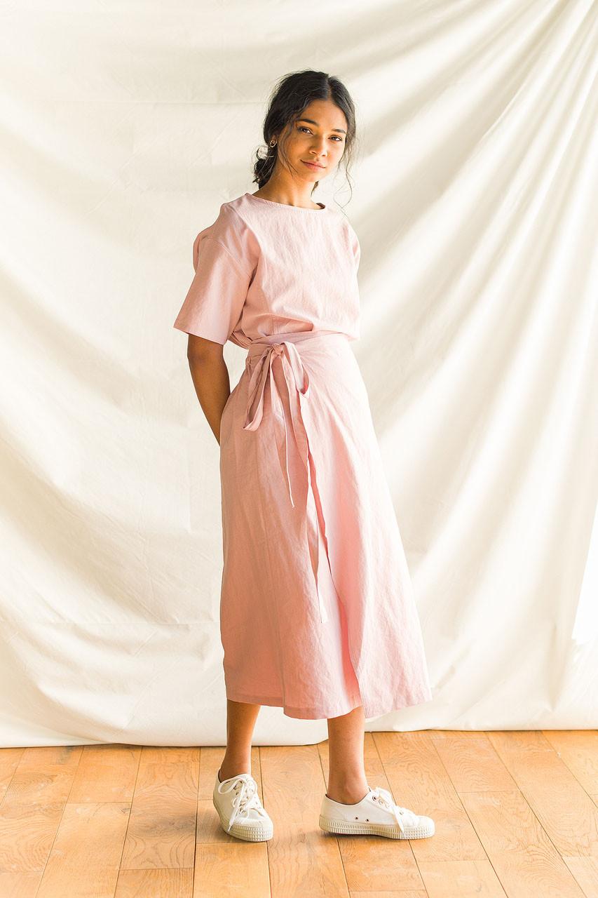 Boa Wrap Skirt Dress, Pink