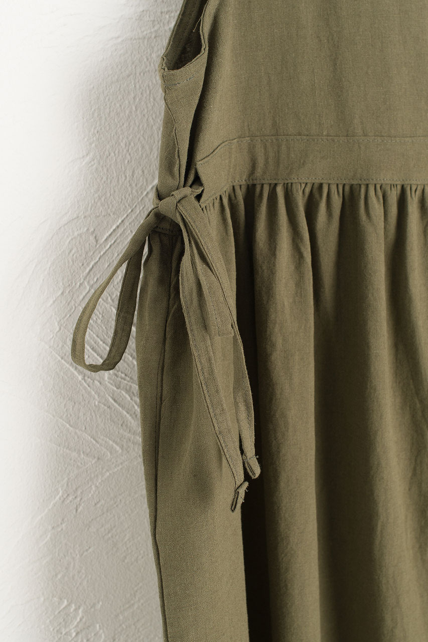Martha Twin Ribbon Dress, Khaki
