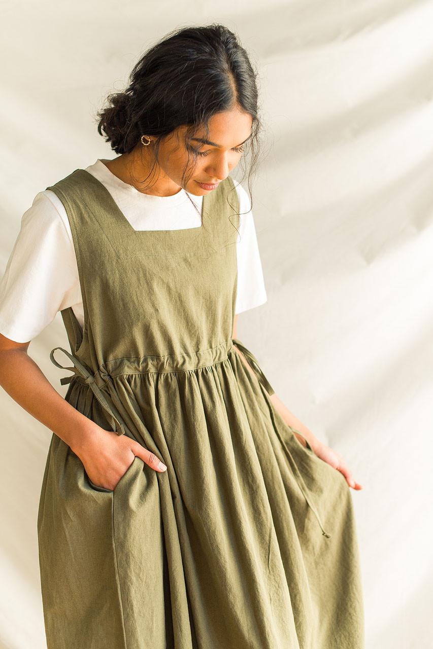 Martha Twin Ribbon Dress, Khaki