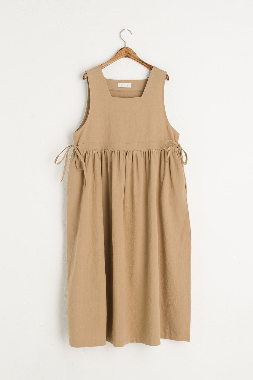 Martha Twin Ribbon Dress, Beige