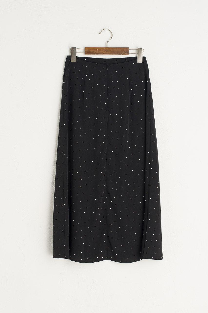 Adeline Spot Print Skirt, Black