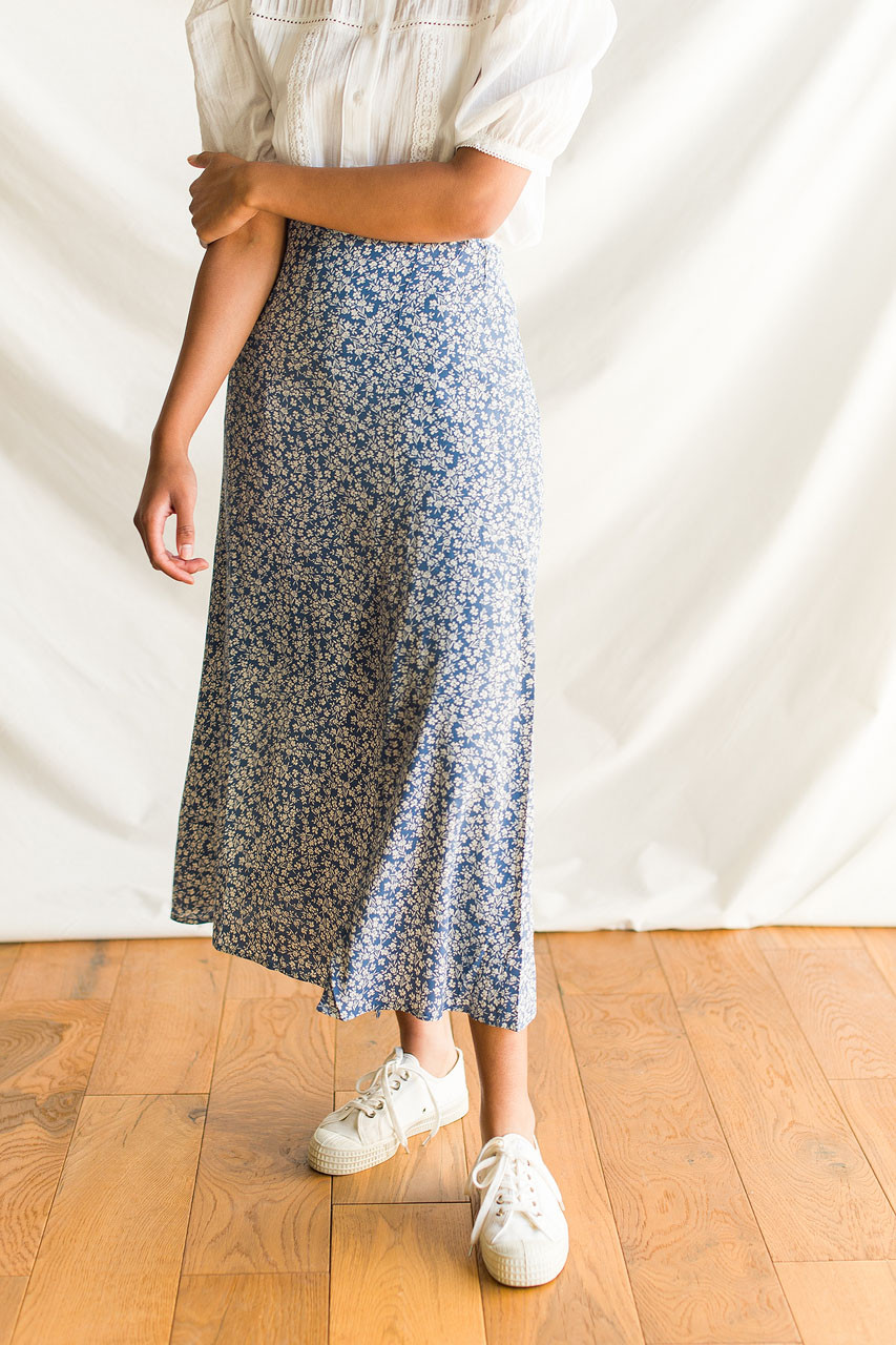 Valerie Floral Skirt, Blue
