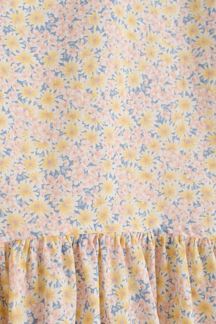 Daisy Print Peplum Blouse, Blue