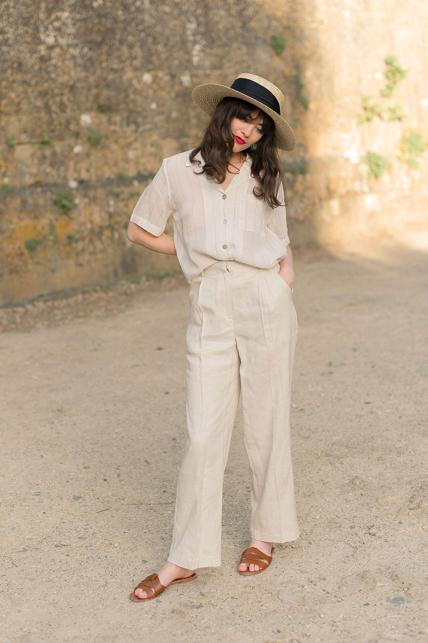 Twill Linen Blend Trousers, Oatmeal