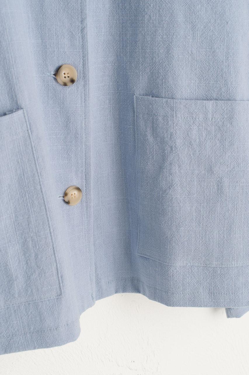 Linen Blend Simple Jacket, Sky Blue