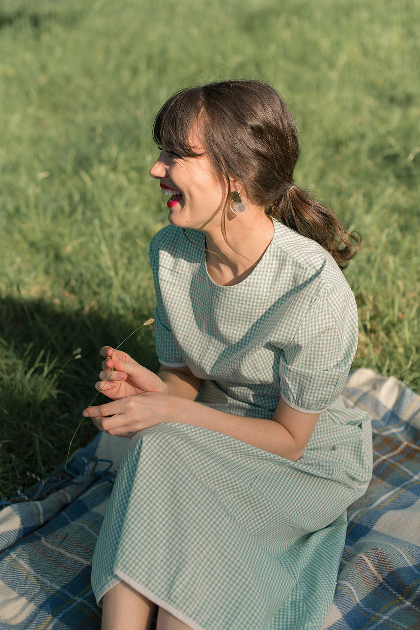 Nora Gingham Dress, Mint
