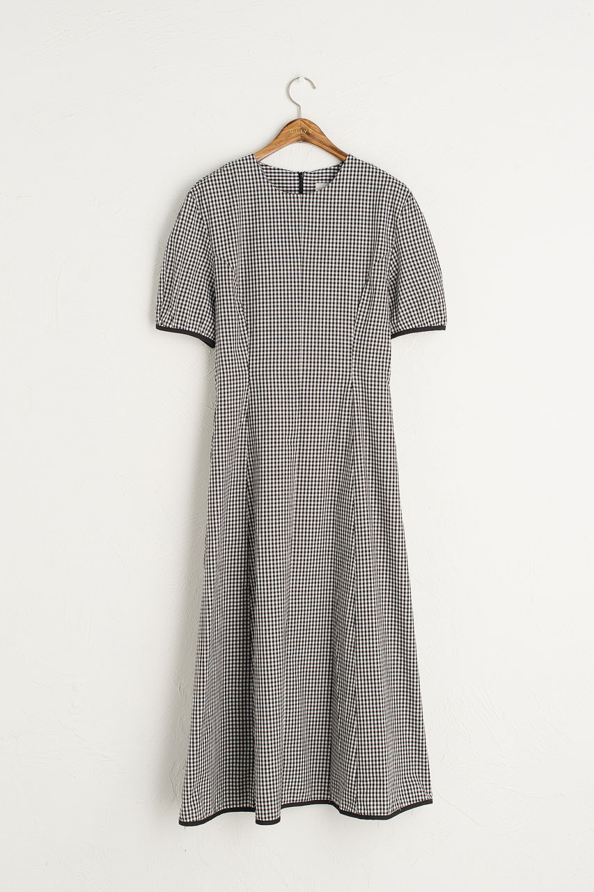Nora Gingham Dress, Black