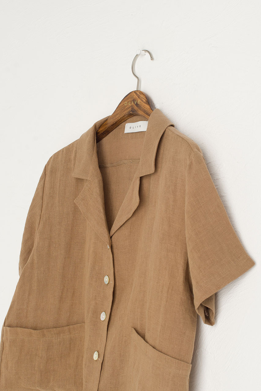 Bella Linen Blouse, Brown