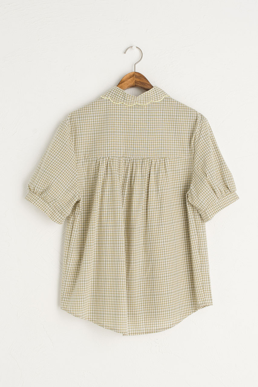 Nori Check Blouse, Beige