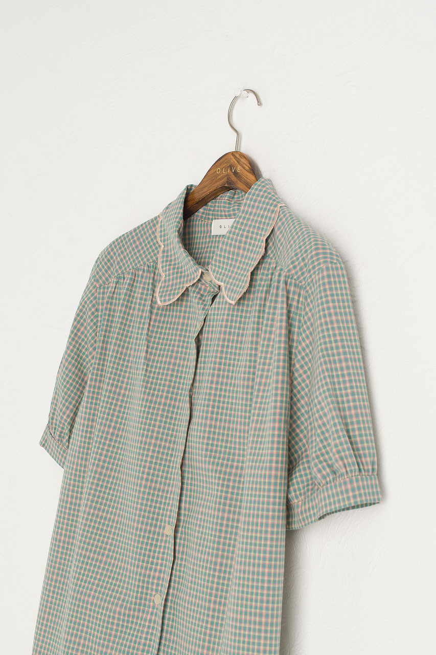 Nori Check Blouse, Khaki
