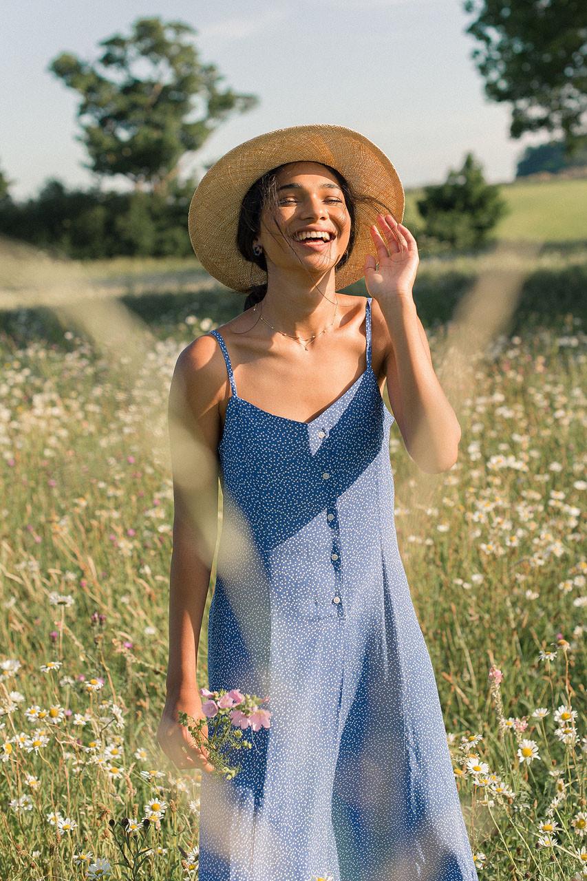 Dotty Cami Dress, Blue