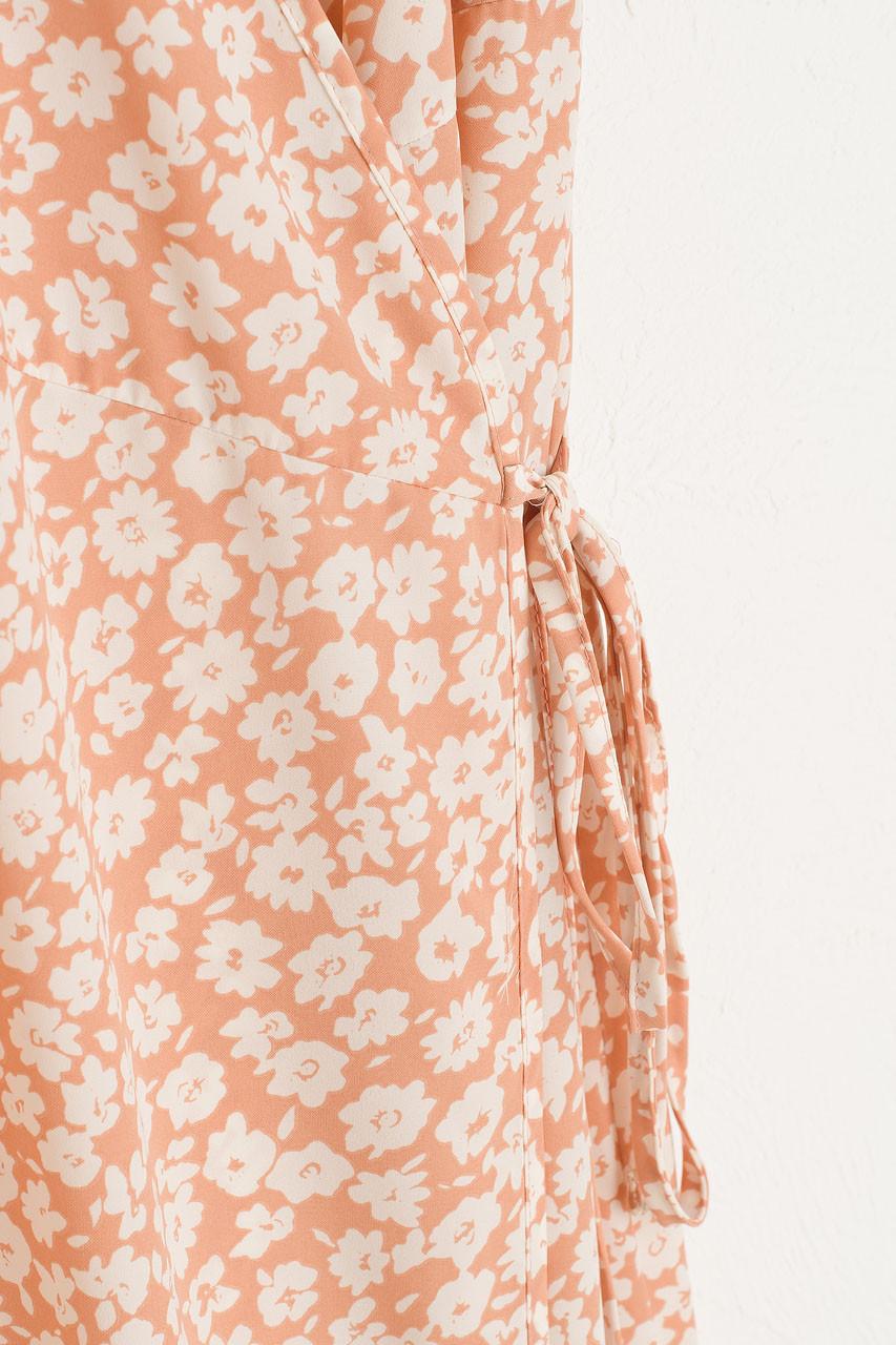 Takako Wrap Dress, Peach