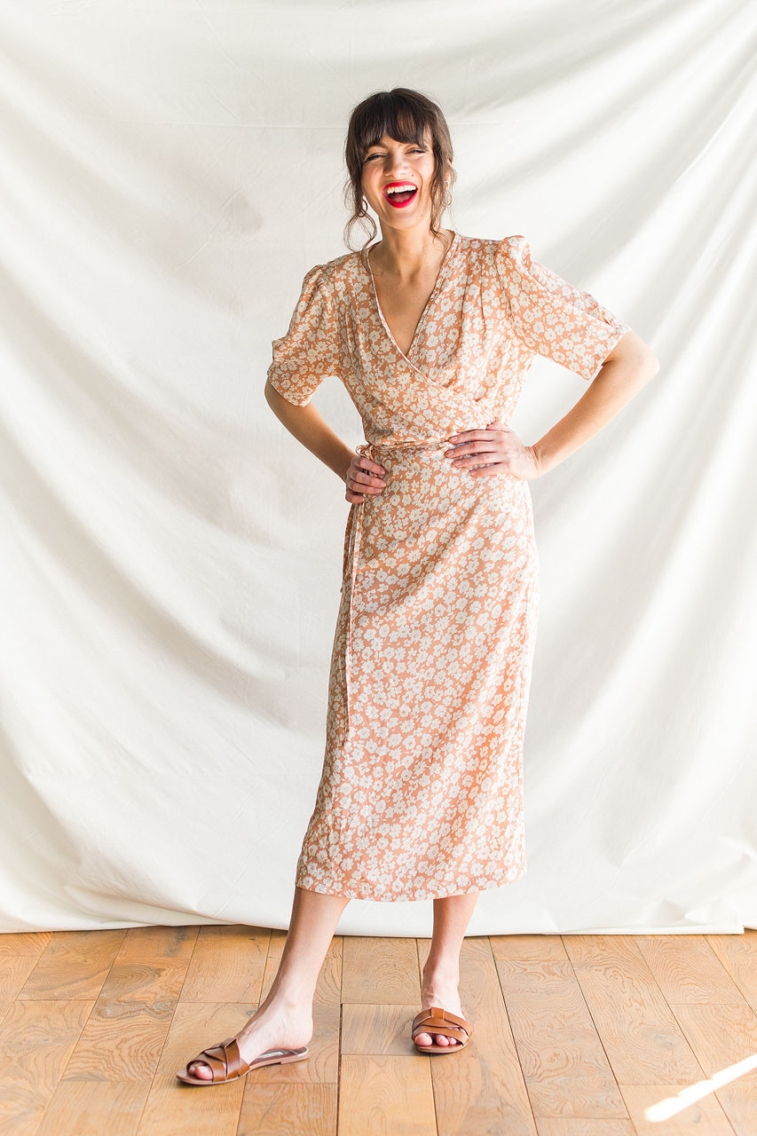 Takako Wrap Dress, Peach