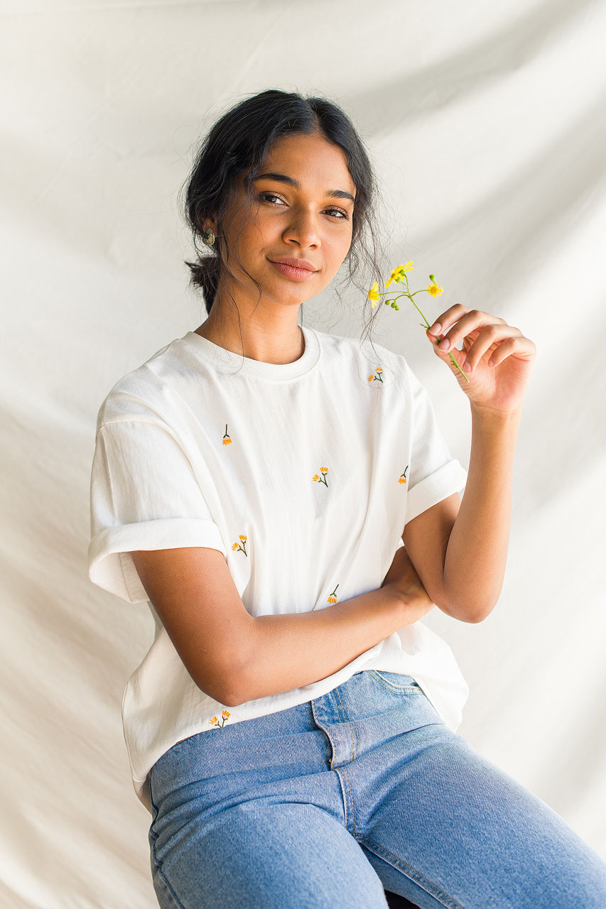 Dandelion Embroidered Tee, White