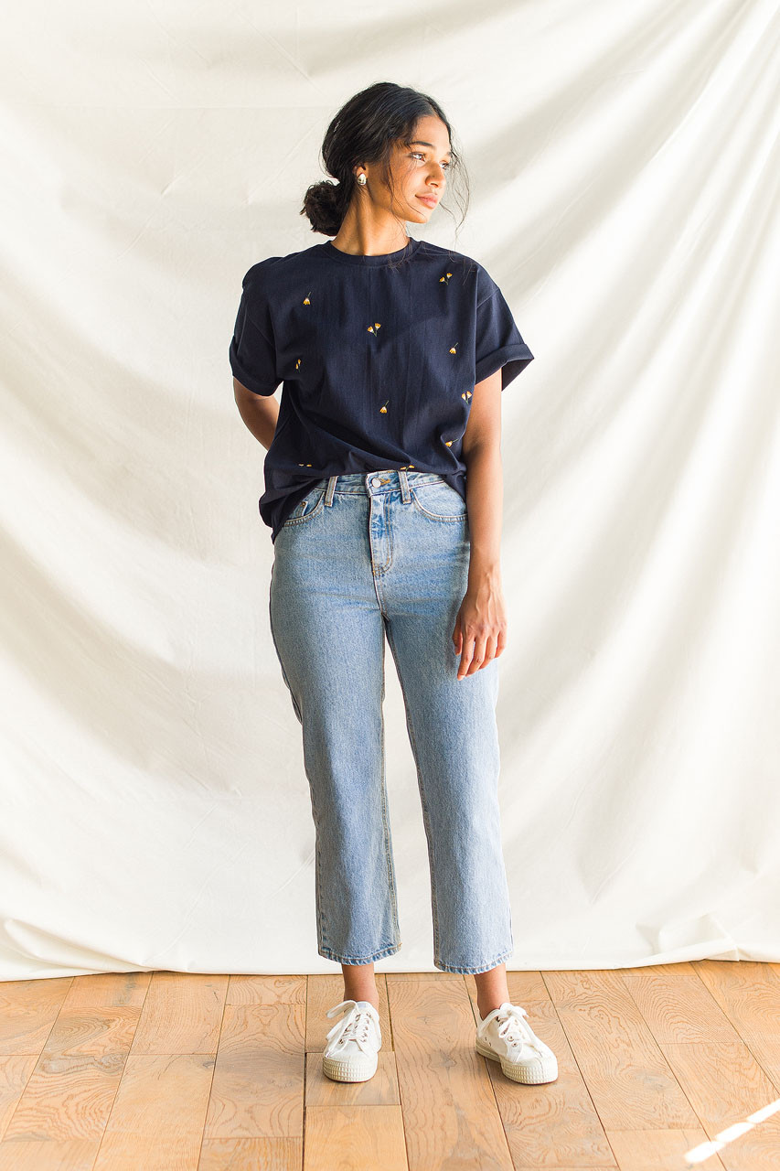 Dandelion Embroidered Tee, Navy
