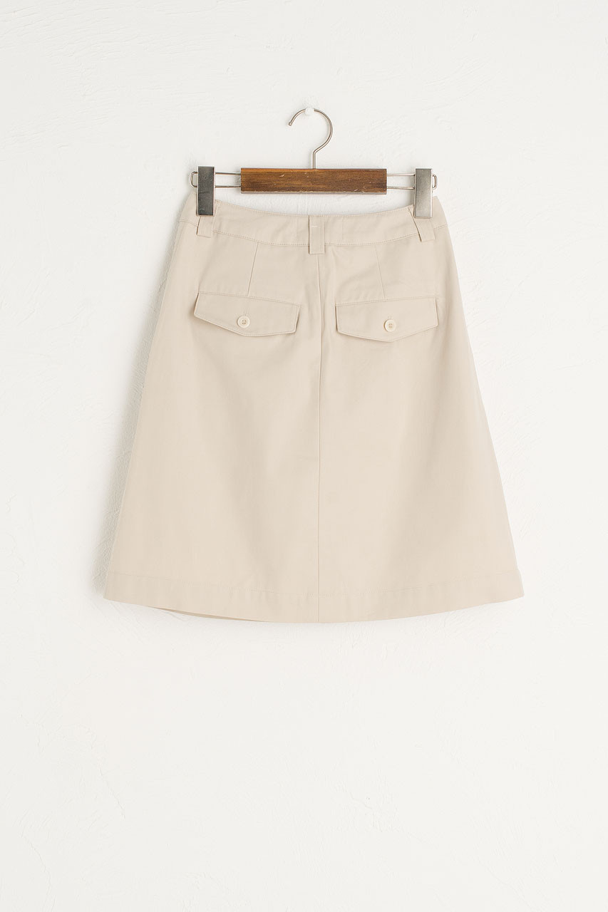 Pintuck Cotton Skirt, Beige