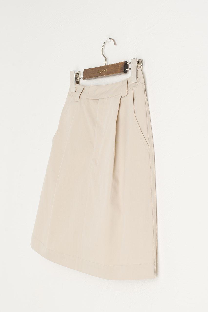 Pintuck Cotton Skirt, Beige