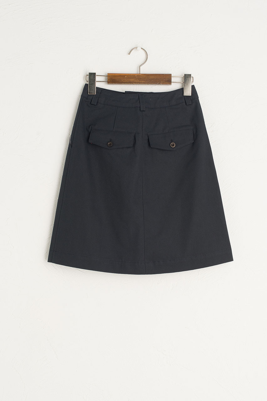 Pintuck Cotton Skirt, Navy