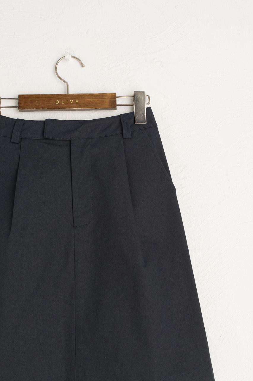Pintuck Cotton Skirt, Navy