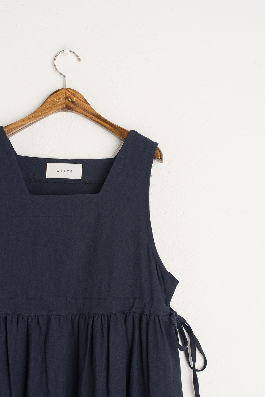 Linen Blend Square Neck Pinafore Dress, Navy