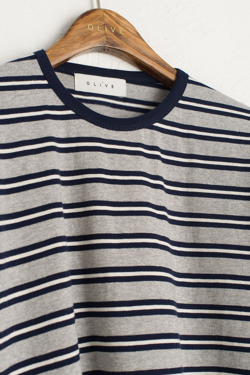 Co Stripe Tee, Grey/Navy